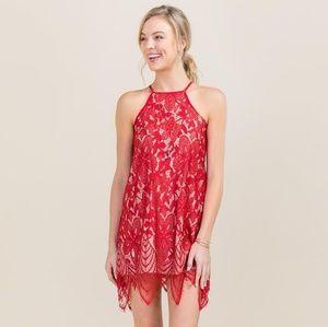 Francescas Michelle Scalloped Lace Halter Dress